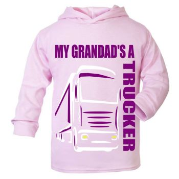 Z -My Grandad's A Trucker pink purple hoodie kids boy girl Lorry HGV Volvo Scania Iveco