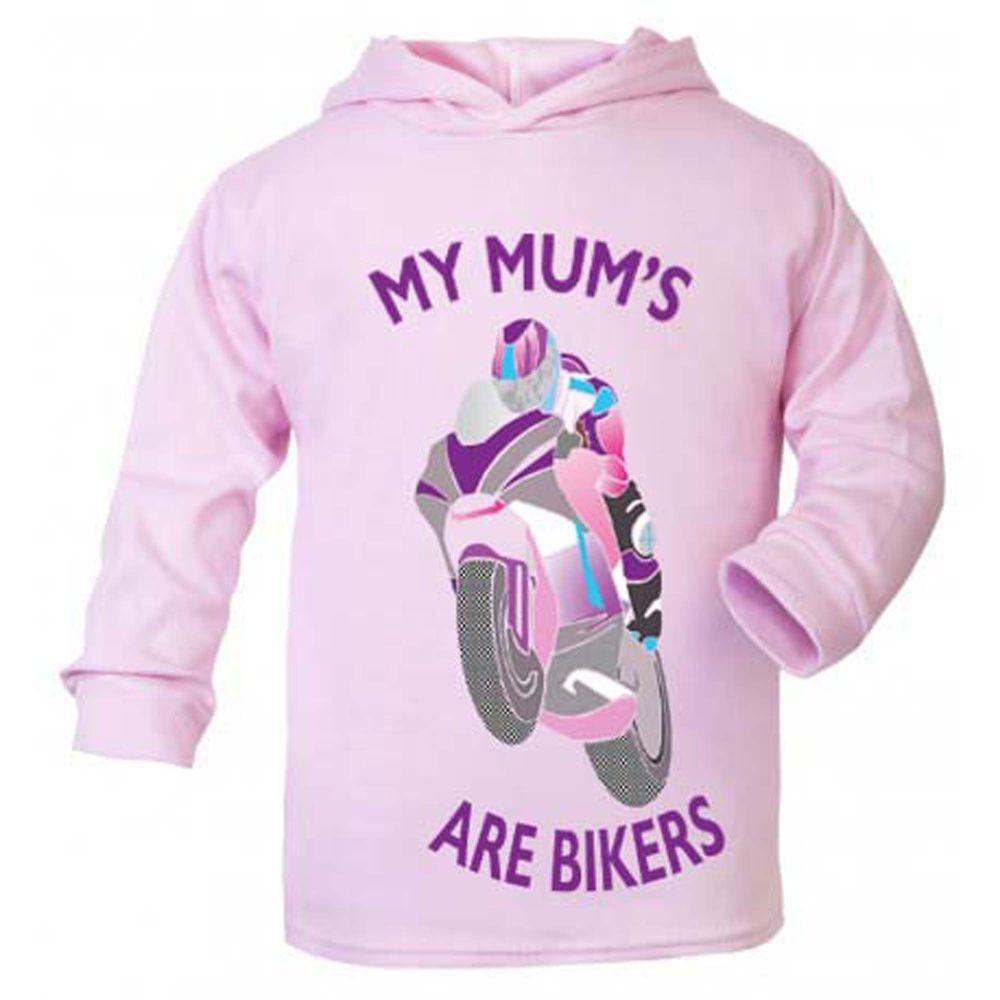 C- My Mum is a biker motorcycle toddler baby childrens kids pink hoodie 100
