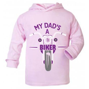 F-My Dad is a biker motorcycle toddler baby childrens kids pink hoodie 100% cotton