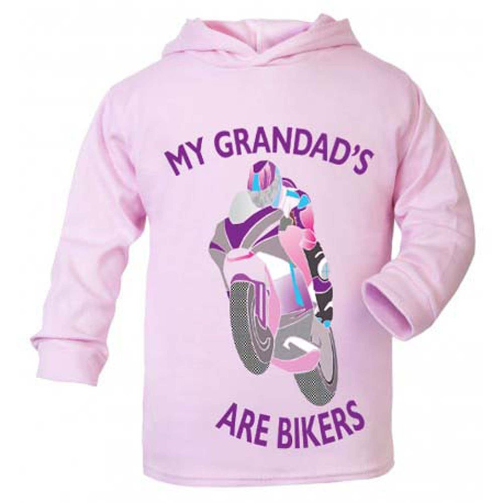 O - My Grandad is a biker motorcycle toddler baby childrens kids pink hoodi