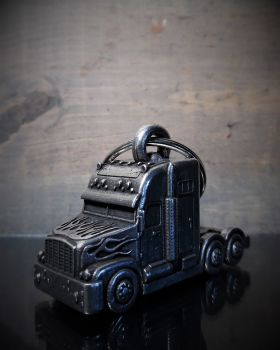 Truck lorry keyring with velvet pouch