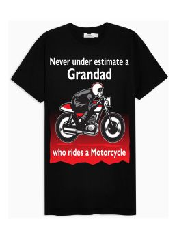 Q - Never under estimate a Grandad who rides a motorcycle kids black tshirt t shirt