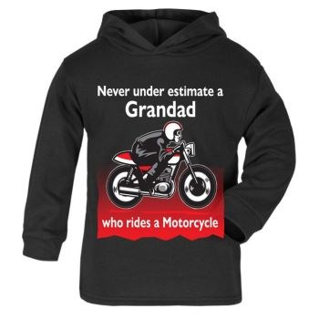 Q - Never under estimate a Grandad who rides a motorcycle kids black hoodie