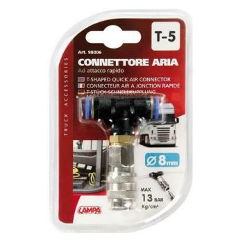 Truck lorry HGV quick push fit connector air line T shaped connector 8mm