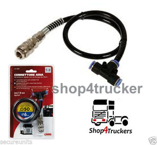 Truck lorry HGV 6mm push fit air line T shaped connector with 50cm tube 13