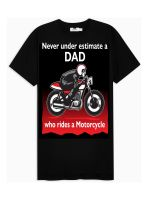 Never under estimate a Dad who rides a motorcycle mens black tshirt t-shirt