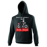 Never under estimate a Dad who rides a motorcycle black hoodie with pouch