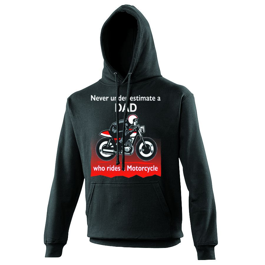 Never under estimate Dad who rides a motorcycle black hoodie with pouch