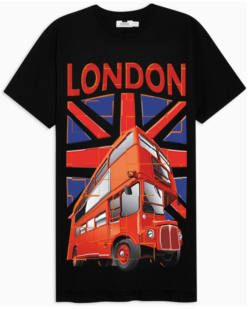 London Union Jack Route Master bus black t shirt