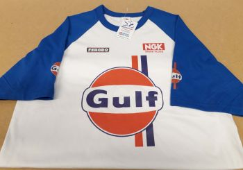 Motorcycle retro Gulf logo tshirt with NGK spark plugs & Ferodo logos
