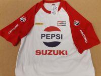 Motorcycle retro Suzuki Pepsi logo tshirt with Dunlop & Champion logos