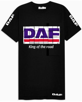 W - DAF truck lorry king of the road black & red tshirt