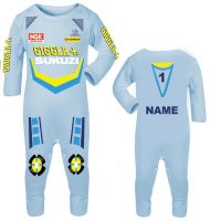 3-Motorcycle Baby grow babygrow Giggla Sukuzi blue Baby Race romper suit made UK