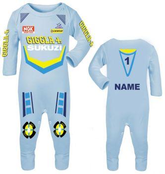 3-Motorcycle Baby grow babygrow Giggla Sukuzi blue Baby Race romper suit made UK