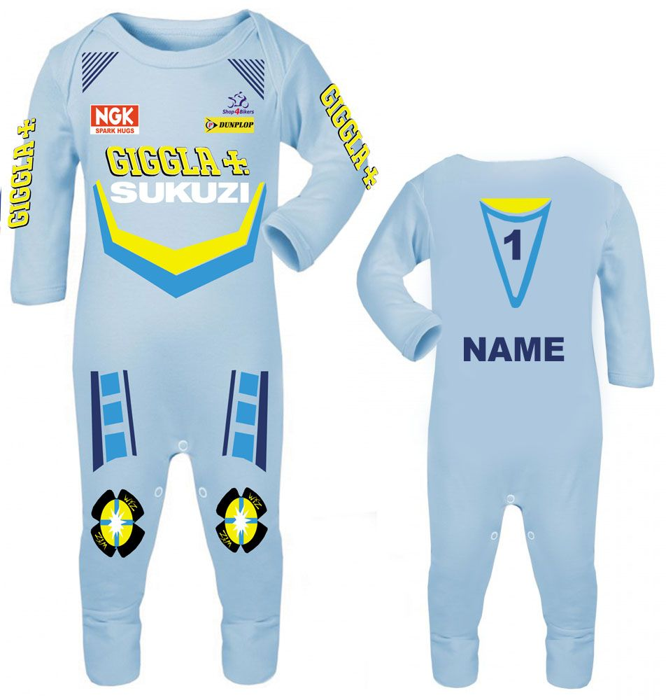 3-Motorcycle Baby grow babygrow Rizla Sukuzi blue Baby Race romper suit mad