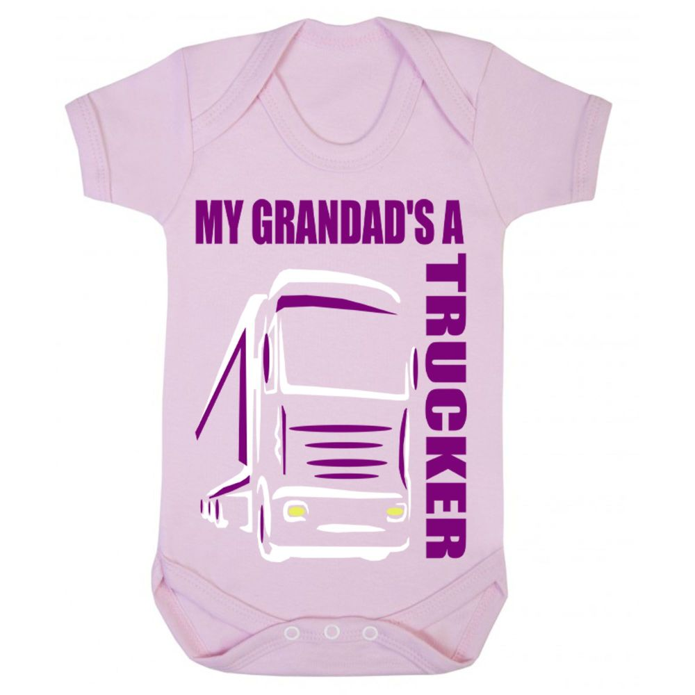 Z -My Grandad's A Trucker pink romper suit kids boy girl Lorry HGV Volvo Sc