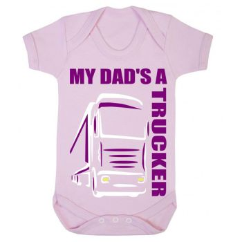 Z -My Dad's A Trucker pink & purple romper suit kids boy girl Lorry HGV Volvo Scania Iveco