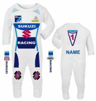 3-Motorcycle Baby grow babygrow Team Sukuzi white Baby Race romper suit Wiz knee sliders