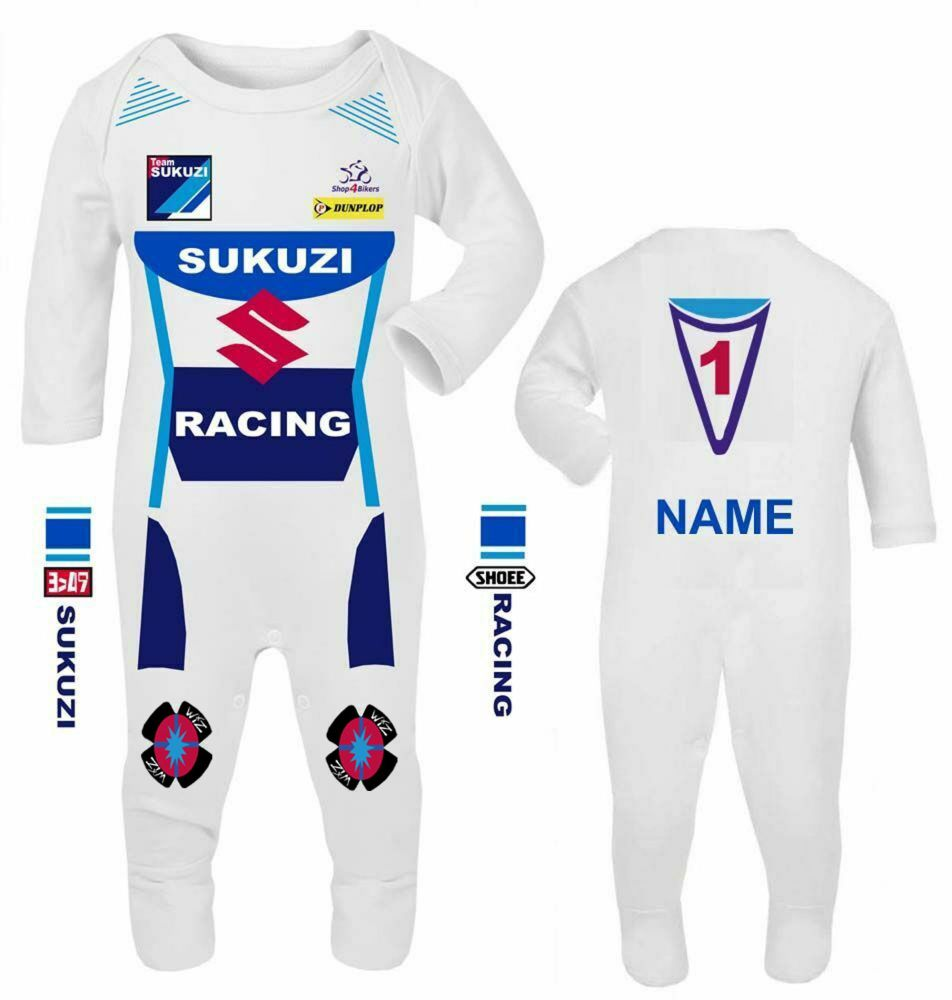3-Motorcycle Baby grow babygrow Team Sukuzi white Baby Race romper suit mad