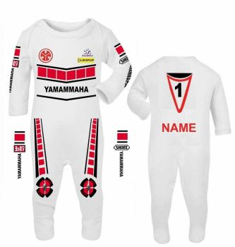3- Motorcycle Baby grow babygrow romper suit Yamammaha red speed block white