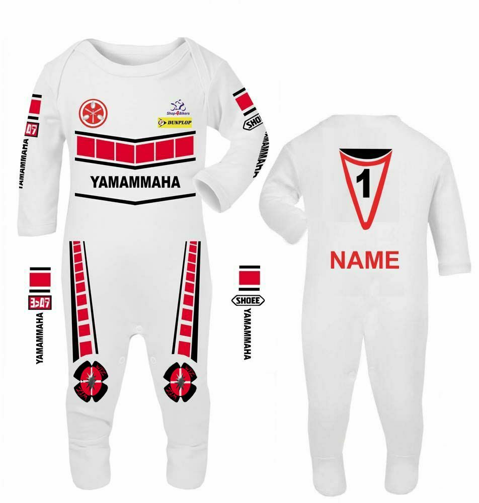 3- Motorcycle Baby grow babygrow romper suit Yamammaha red speed block whit
