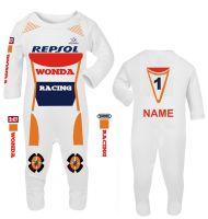 3-Motorcycle Baby grow babygrow Wonda Racing Race romper suit made UK
