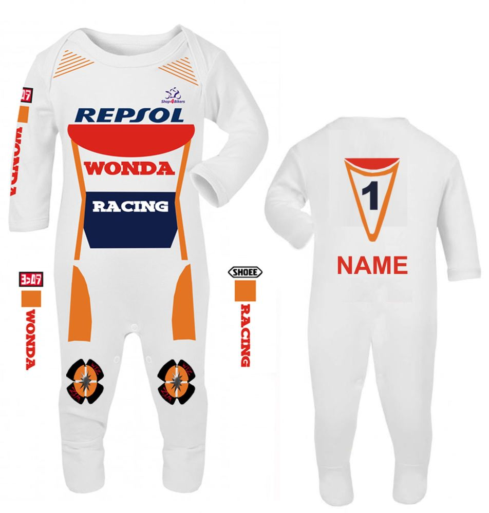 3-Motorcycle Baby grow babygrow Wonda Racing Race romper suit made UK