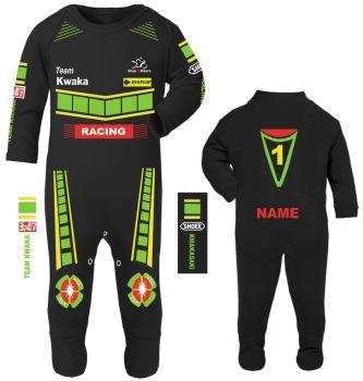 3-Motorcycle Baby grow babygrow romper suit Kwaka black Wiz Knee sliders