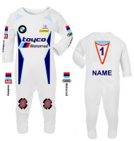 3-Motorcycle Baby grow babygrow romper suit Toyco Motorrad racing Wiz Knee sliders