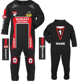 3-Motorcycle Baby grow babygrow Dukati Racing Race romper suit Wiz Knee sliders