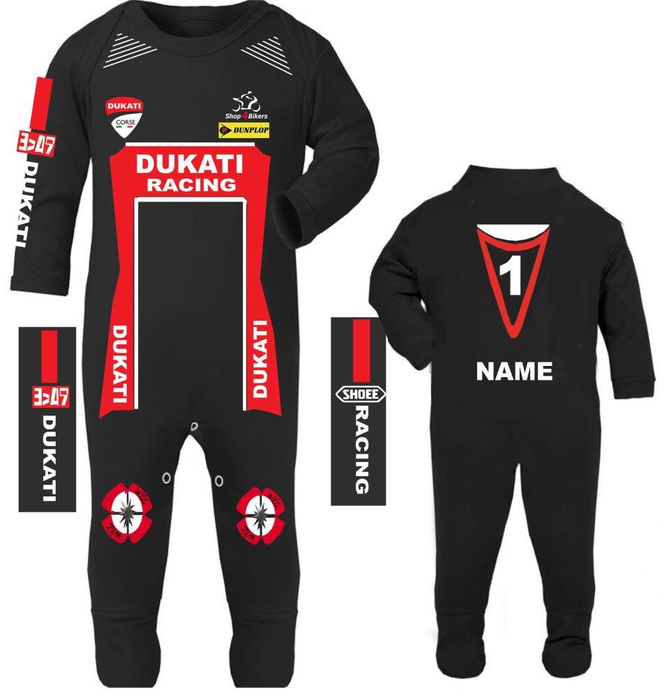 3-Motorcycle Baby grow babygrow Dukati Racing Race romper suit Wiz Knee sli