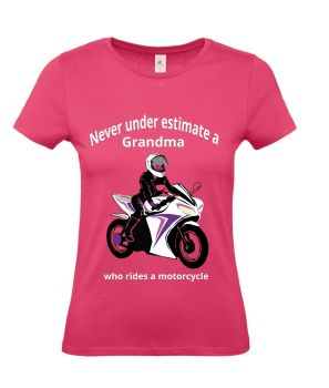 Never under estimate a Grandma who rides a motorcycle pink women's tshirt