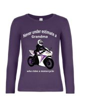 Never under estimate a Grandma who rides a motorcycle purple women's long sleeve tshirt