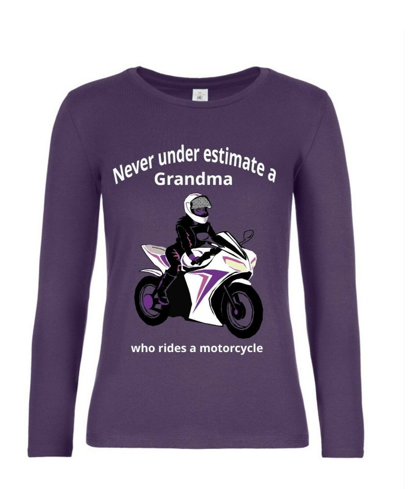 Never under estimate a Grandma who rides a motorcycle purple women's long s