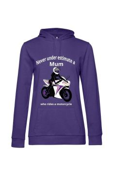Never under estimate a Mum who rides a motorcycle purple women hoodie