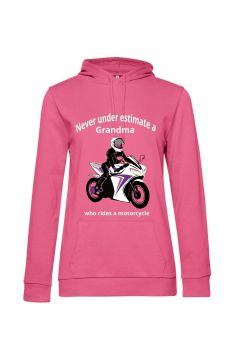 Never under estimate a Grandma who rides a motorcycle pink women hoodie