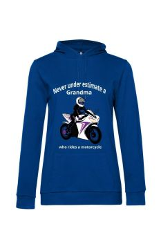 Never under estimate a Grandma who rides a motorcycle blue women hoodie