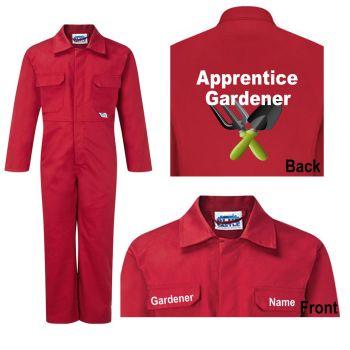 Kids Children Motokids red boiler suit overalls coveralls apprentice gardener
