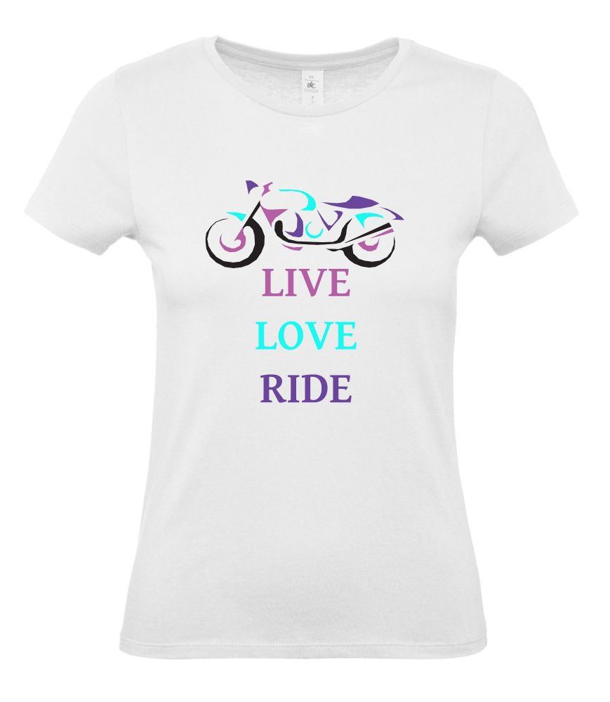 Women girl ladies biker motorcycle tshirt tee Live Love Ride white