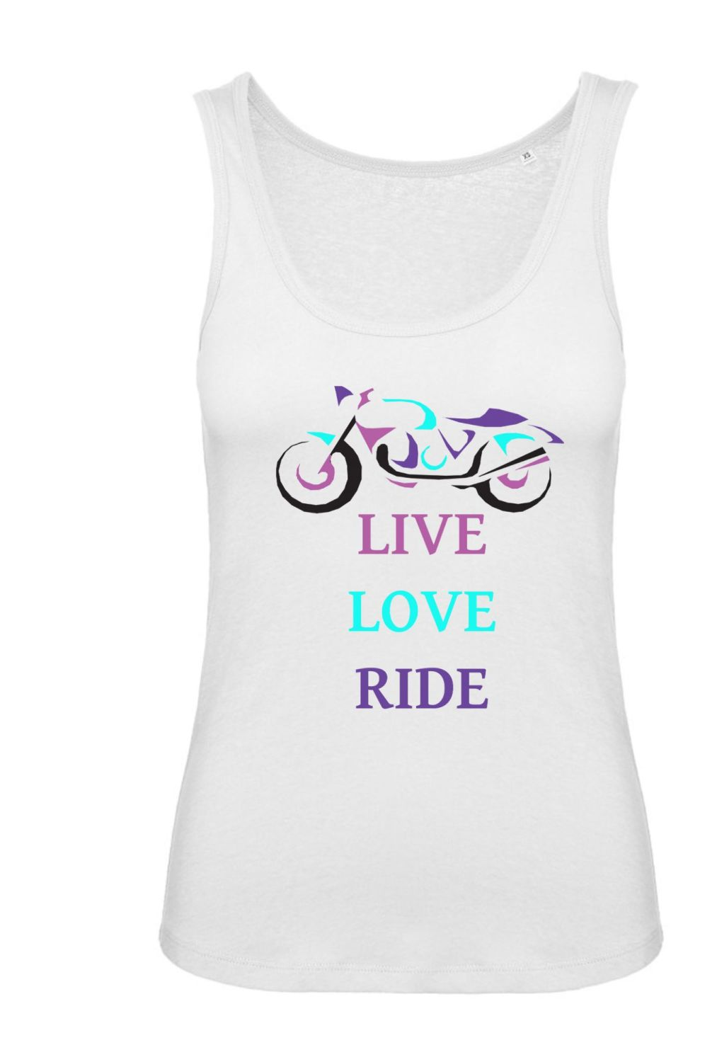 Women girl ladies biker motorcycle tshirt tee Live Love Ride black