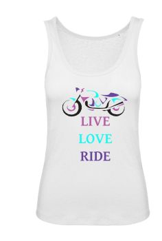 Women girl ladies biker motorcycle tank top vest tshirt  Live Love Ride