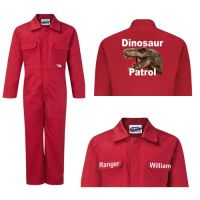 Kids children red boiler suit overalls coveralls customise dinosaur patrol t-rex