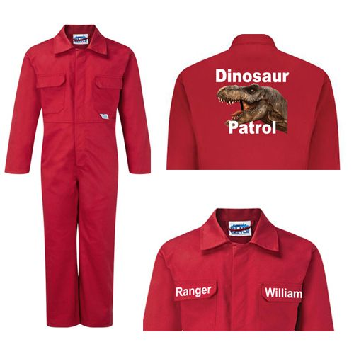 Kids children red boiler suit overalls coveralls customise dinosaur patrol