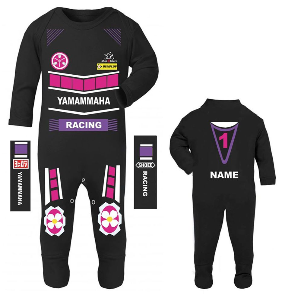 3- Motorcycle Baby grow babygrow Yamammaha racing romper suit purple pink