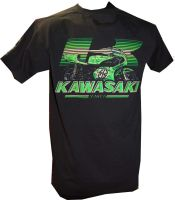 A - Kawasaki Retro Bike & Logo Design mens T-shirt Tee black