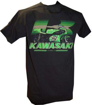 A - Kawasaki Retro Bike & Logo Design mens T-shirt Tee black