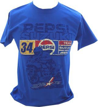 A - Pepsi Suzuki Racing Retro Logo Design mens T-shirt Tee blue