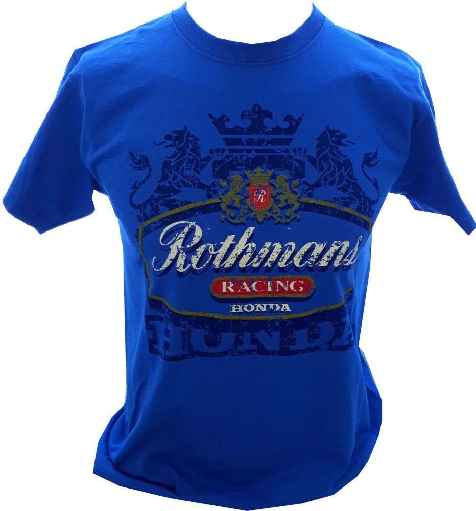 A- Rothmans Honda Logo Retro Design mens T-shirt Tee Blue
