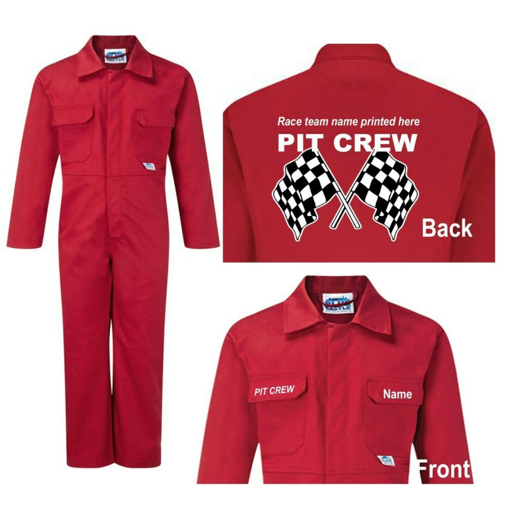 Kids children red boiler suit overalls coveralls customise pit crew race te