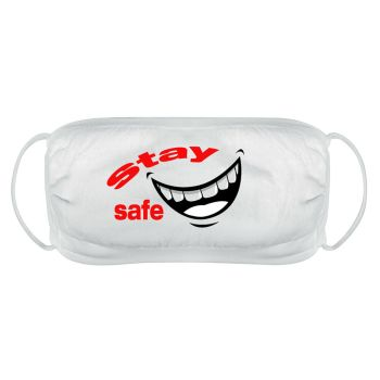 Stay safe face mask cover reusable washable comfy fit white double layered